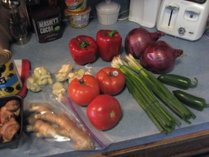 What goes into the simmered hog-stop week mix